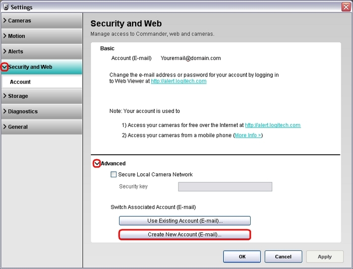 commander how to create an email account