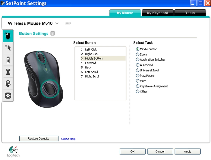 Logitech M-R0019 Mouse SetPoint Driver for Windows Mac