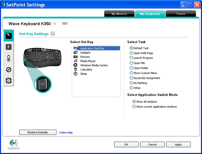logitech wave keyboard drivers windows 10