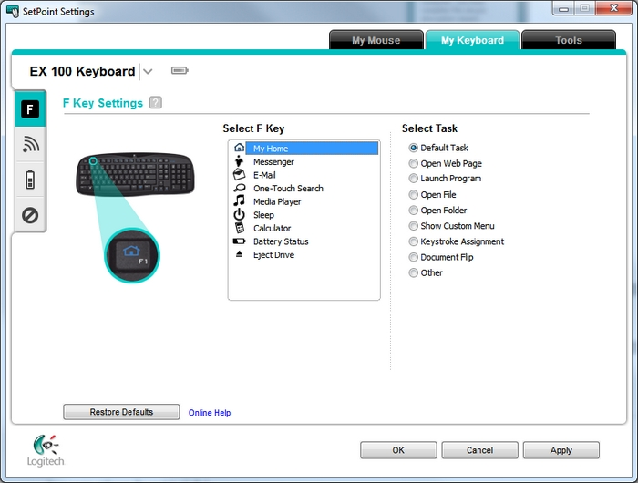 8b58ff4c367 NOTE: If you have more than one Logitech keyboard and the EX 100 isn't  currently displayed, click the down-arrow icon next to the current product  name and ...