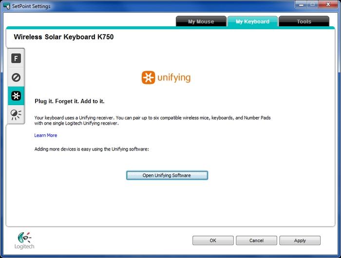 Customizing my K750 keyboard with Logitech SetPoint Software