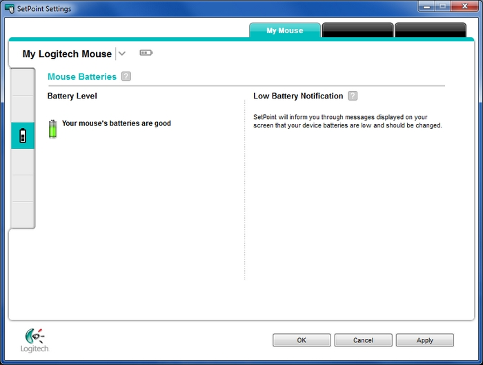 Checking mouse battery status in SetPoint – Logitech Support
