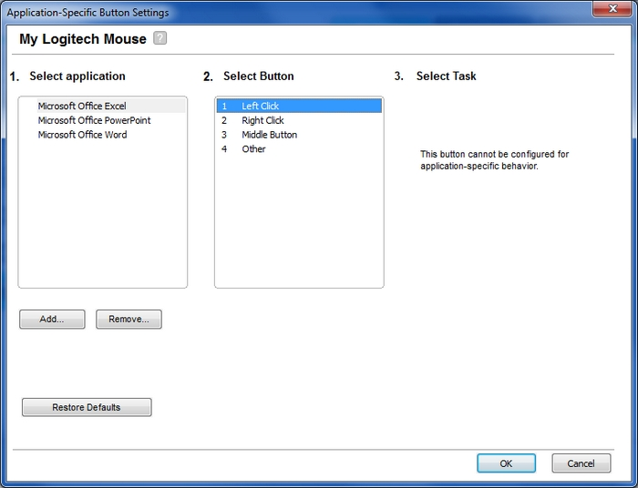 Advanced mouse settings for specific applications in