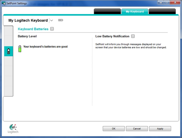 Checking keyboard battery status in SetPoint – Logitech