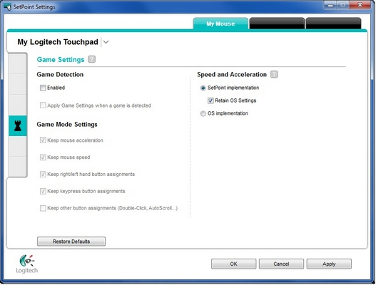 Touchpad game settings