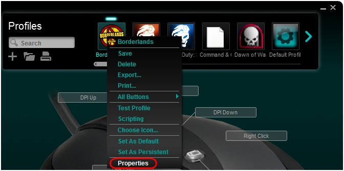 Selecting the correct  exe for a gaming-mouse profile using Windows