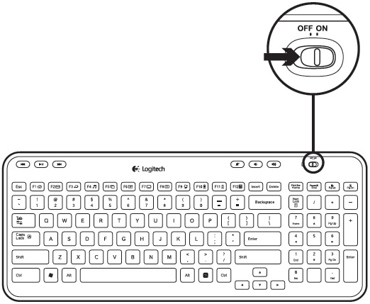 turning the k360 keyboard on and off