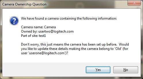 Boîte de dialogue de mise à jour de propriété de la caméra