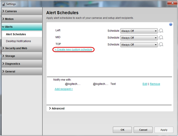 Create Alert custom schedule