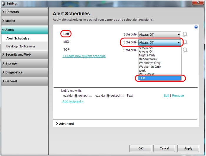 Select Alert custom schedule
