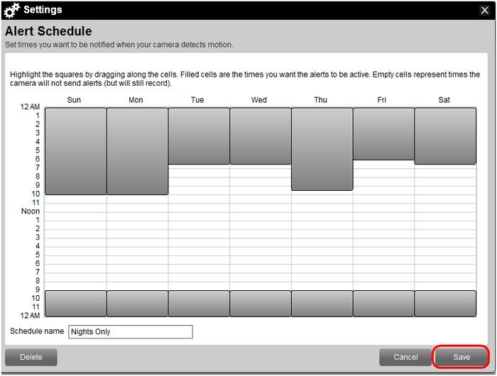 Save edited schedule in Web Commander