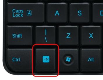 Emplacement de la touche FN du clavier MK240