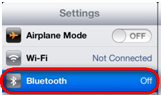 Configurações de Bluetooth do iOS 6