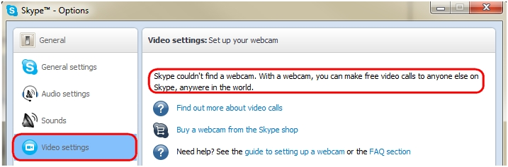 Webcam not found error in Skype