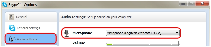 Select microphone in Skype Audio Settings