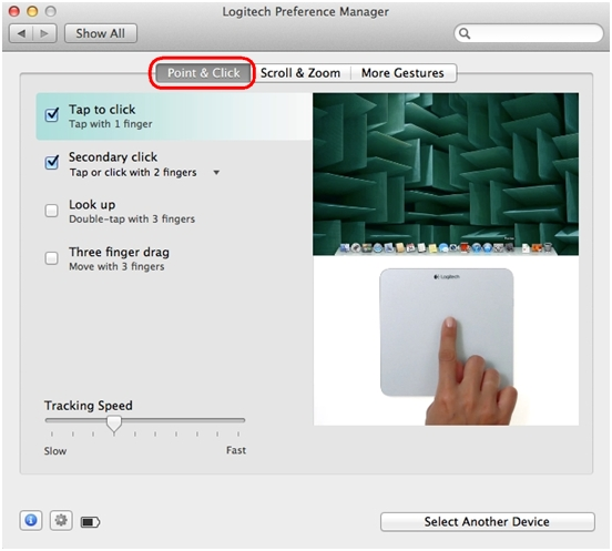 Point & Click trackpad settings
