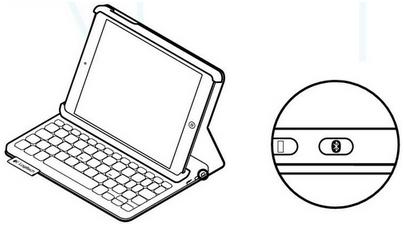 Keyboard Folio Mini Bluetooth button