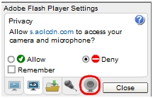 Select webcam icon in Flash Player Settings