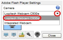Select your webcam form the drop-down list