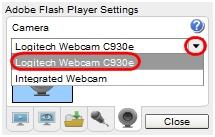 Sélectionnez votre webcam Logitech dans la liste déroulante.