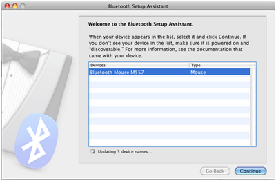 Bluetooth Mouse M557 in Bluetooth Setup Assistance menu