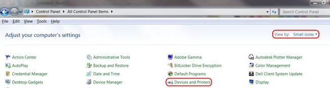View Devices and Printers by Small Icons