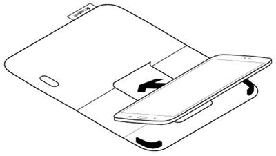 Insert corner of tablet into hook