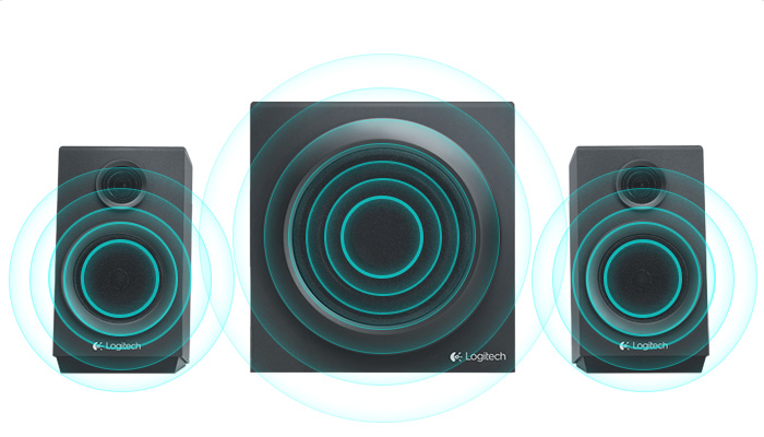 Left and right satelites on either side of subwoofer