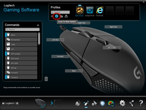 Importing gaming-mouse profiles using Logitech Gaming Software