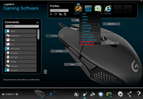 Lock a gaming-mouse profile using Logitech Gaming Software