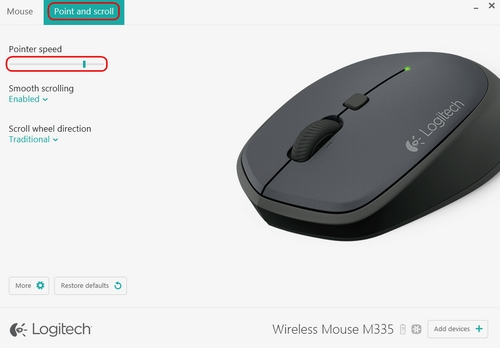 Change Wireless Mouse M335 pointer speed with Logitech Options