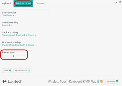 Set K400 Plus pointer speed and scrolling with Logitech Options