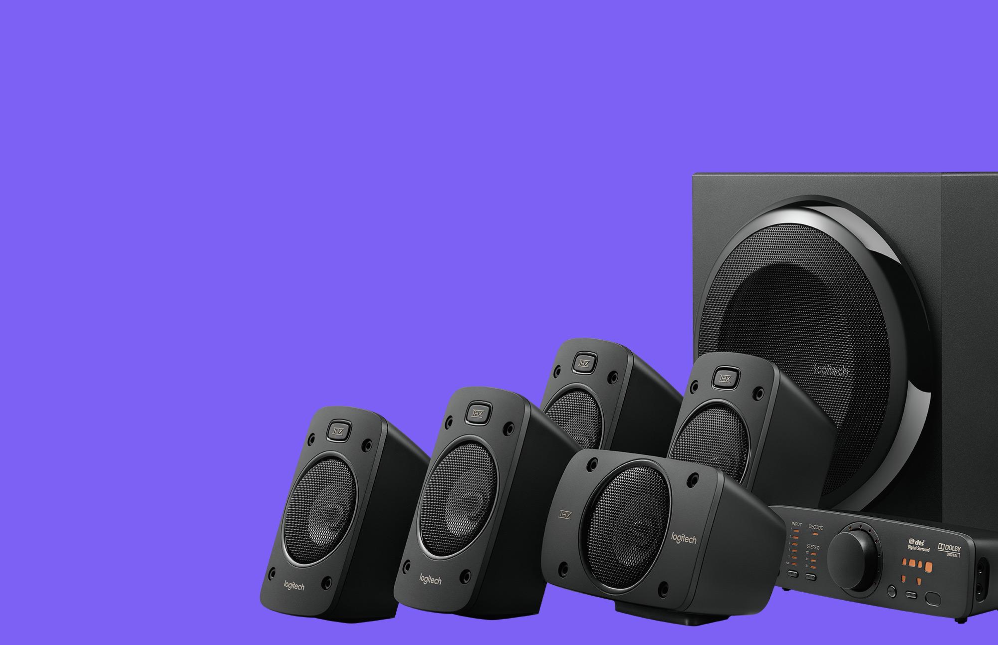 logitech z906 5 1 surround sound speakers system  thx