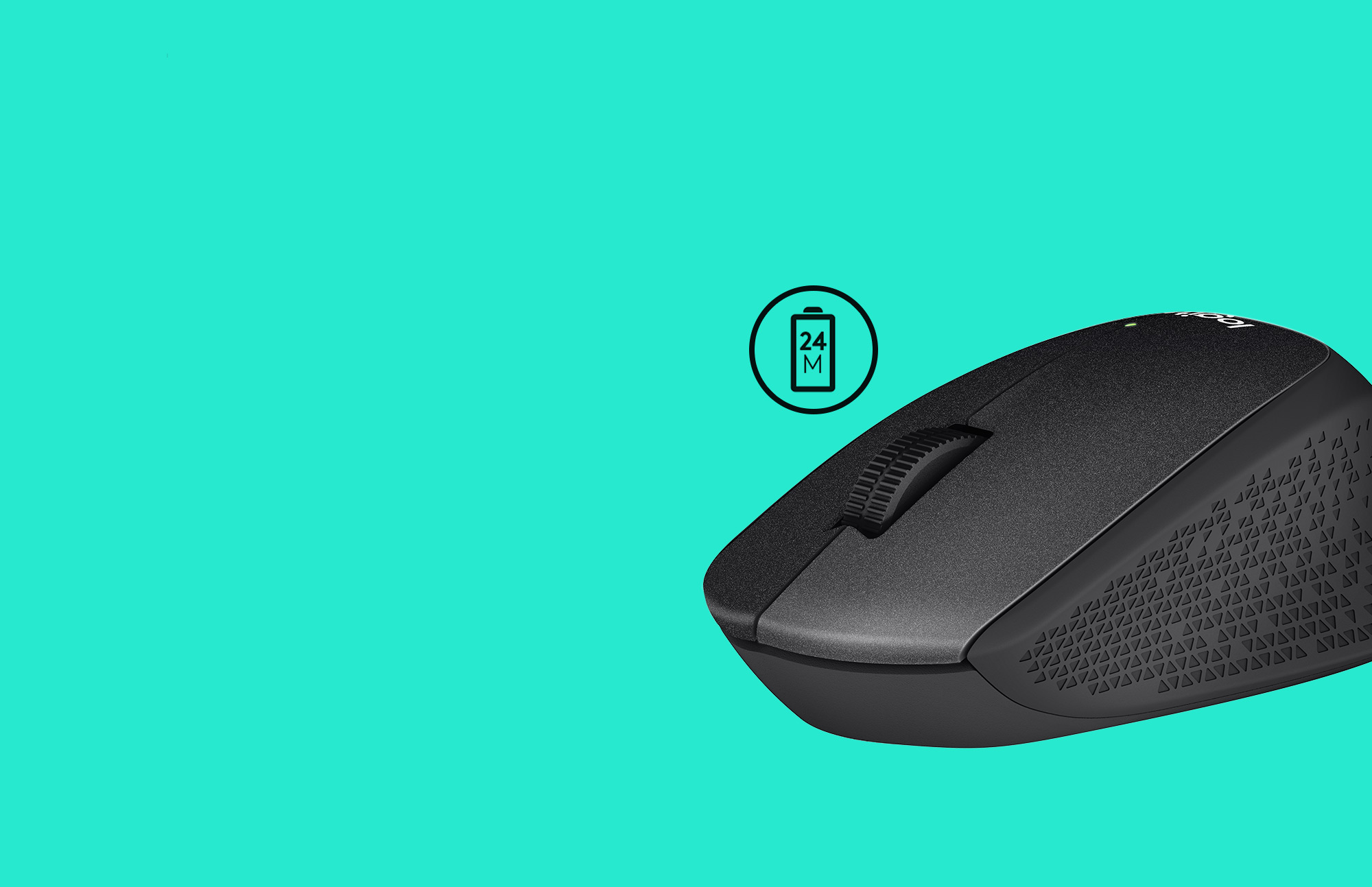 M330 mouse with teal back ground