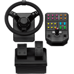 Heavy Equipment Bundle Simulation Wheel, Pedals and Side Panel Control Deck - Black