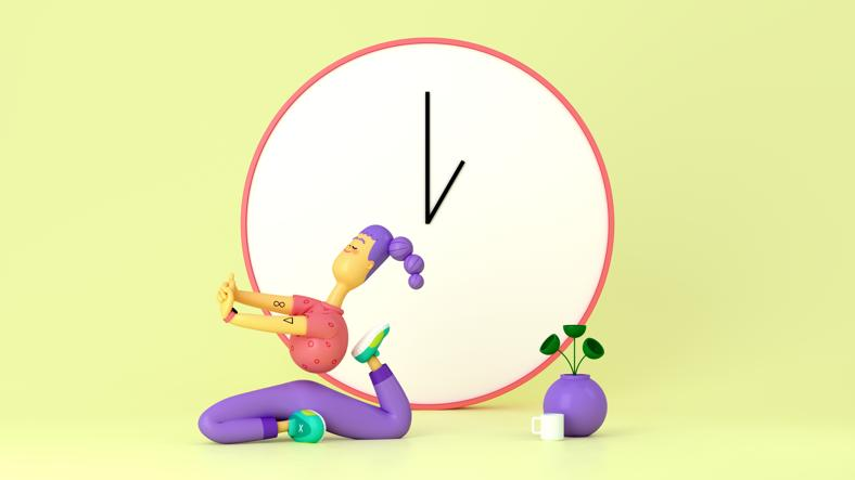 Illustration of person doing yoga with clock in background