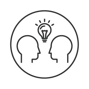 Icon of 2 heads and lightbulb