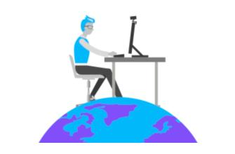 Illustration of person working at desk sitting on top of globe
