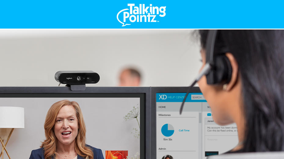 People on a video conference meeting using the logitech Brio camera system