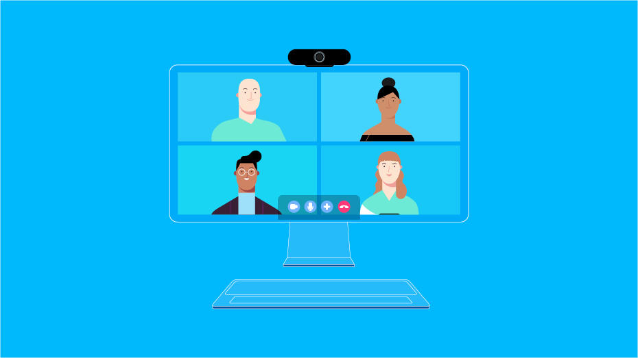 Illustration of people on video conference call