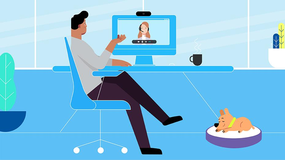 A man and woman in video conferencing with logitech products