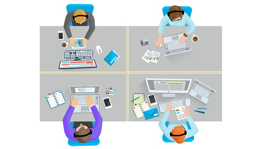 Graphic image of people working at desks